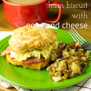 How can you go wrong with a giant ham biscuit? Country ham, scrambled eggs, and cheddar cheese make an out of this world breakfast sandwich!   recipe from Chattavore.com