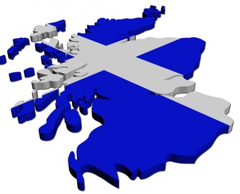 cropped scottish flag on map of scotland