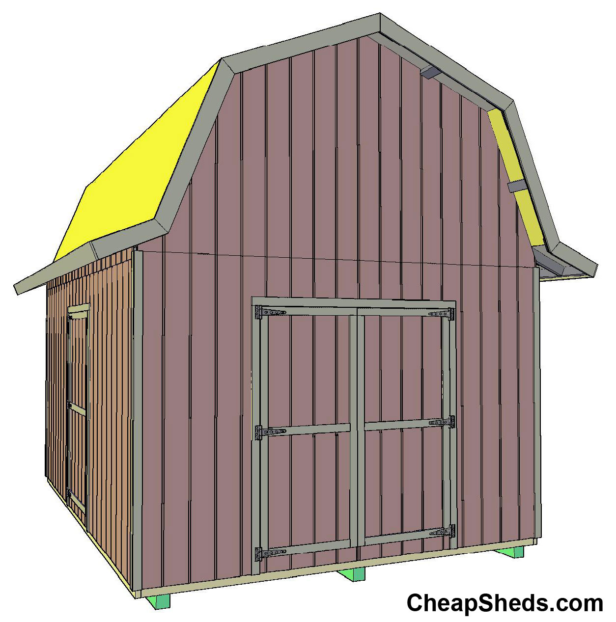 Tall gambrel barn style sheds for Two story shed plans free
