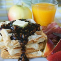 Hooray for Brunch!  - Fluffy Belgian Apple Waffles with Apple Cinnamon Pecan syrup