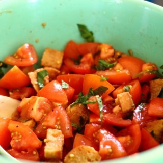 Juicy, ripe summer tomatoes, aged balsamic, toasted garlic croutons and your best olive oil combine to make the best end of summer salad.