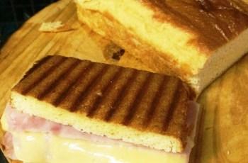 pão low carb de farinha de amêndoas - misto quente
