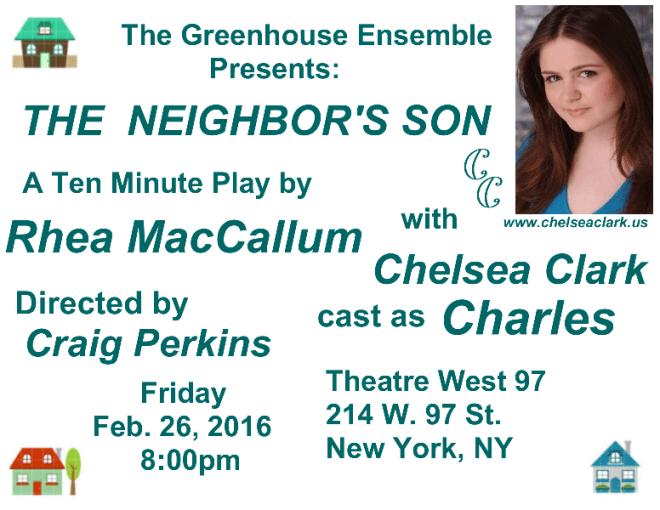 Chelsea Clark in Rhea MacCallum's THE NEIGHBOR'S SON at Theatre West 97, Feb. 26, 2016