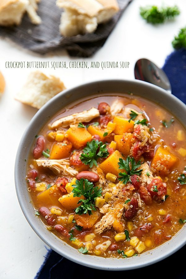 Crockpot Butternut Squash, Chicken, and Quinoa Soup | Chelsea's Messy ...