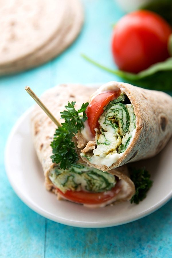 Super healthy and quick spinach, feta, and tomato egg wraps