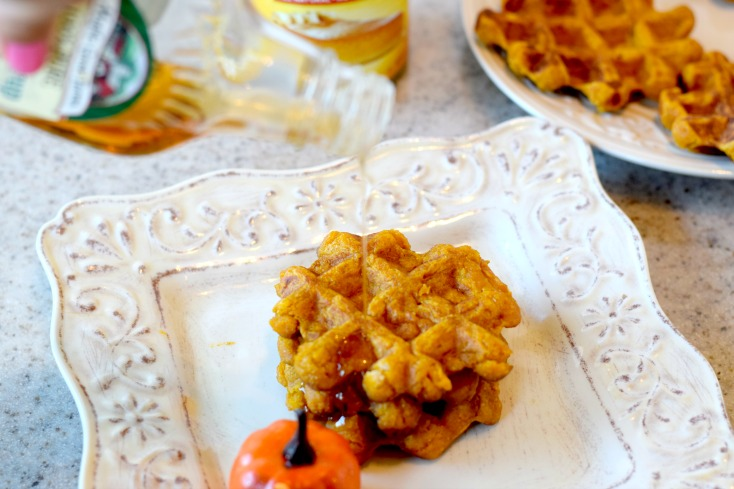 Dairy-free pumpkin waffles plus gluten-free options too. These are the BEST dairy-free pumpkin waffles and so easy too! on chemistrycachet.com