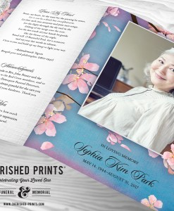 Outside cover of the Beautiful Pink Cherry Blossoms Celebration of Life Program Funeral Services Program Memorial Service Program - Purple and Blue background