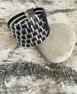 Black Leather Wide Silver Basketweave Bracelet