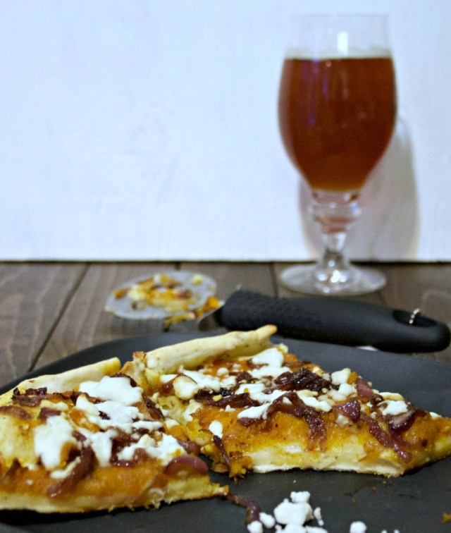 Butternut Squash Caramelized Onion Feta Pizza