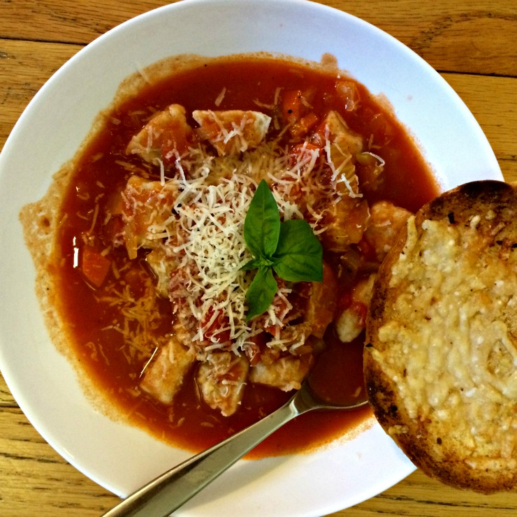 Whole Wheat Gnocchi in Tomato Broth