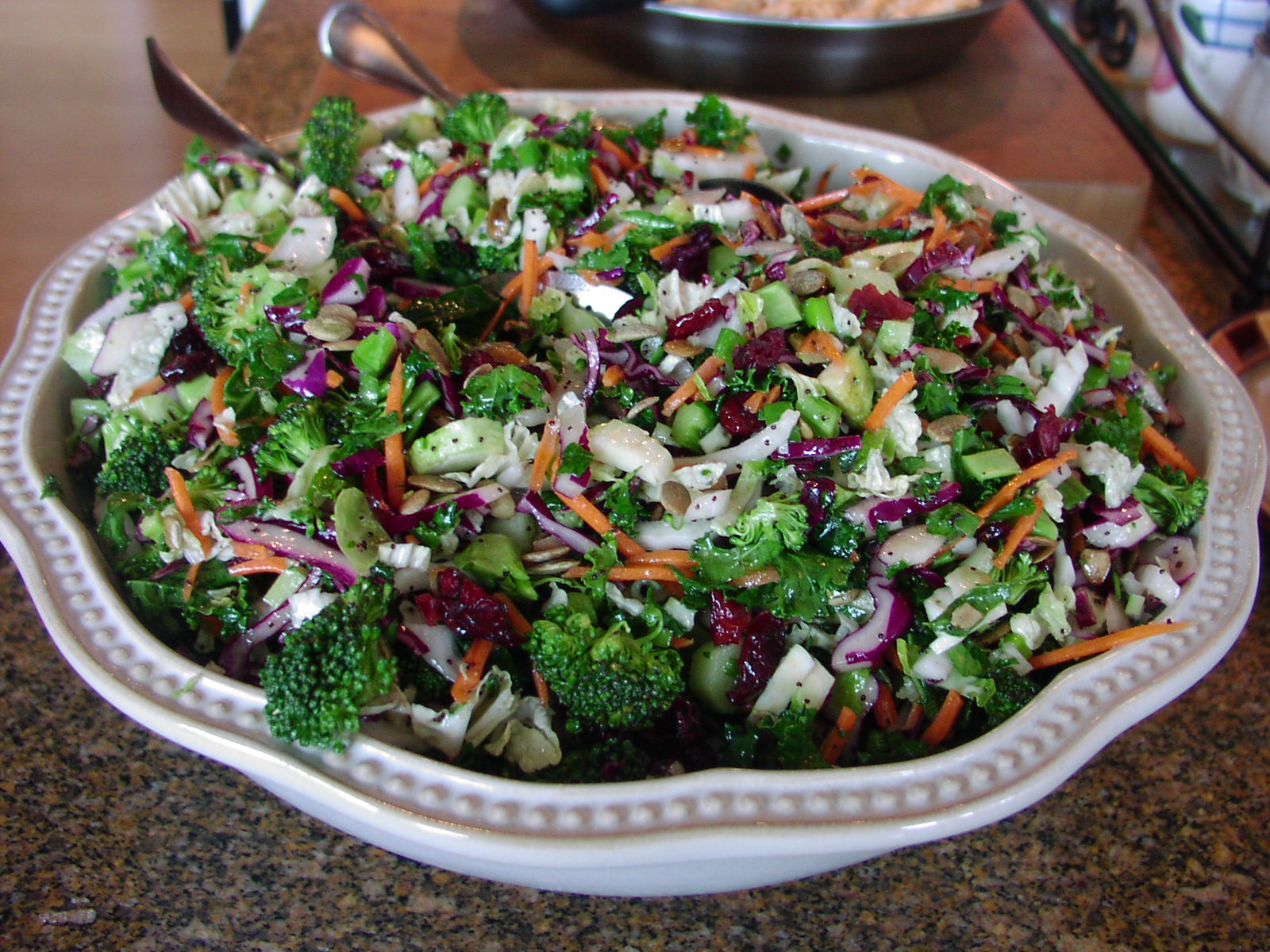 recipe: kale salad with cranberries and pumpkin seeds [38]
