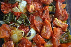 these veggies are roasted and ready to be blended
