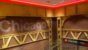 A Chicago-themed staircase