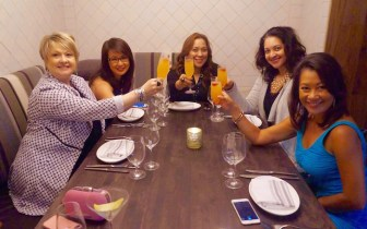 A #ChaChaChicagonista Cocktail Toast with the girls: L-r: @JulynsBling, @NancyLoo, @MJTam, @JustDwana, & @DuongOnine