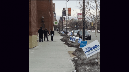 Voters walked out of the Moody Church on Tuesday, located on Clark Street.