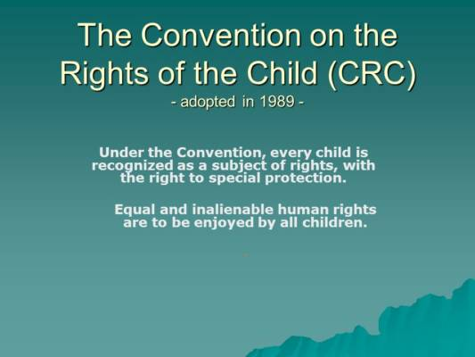 a role of the convention on the rights of the child crc Committee on the rights of the child the committee on the rights of the child (crc) is the body of 18 independent experts that monitors implementation of the convention on the rights of the.