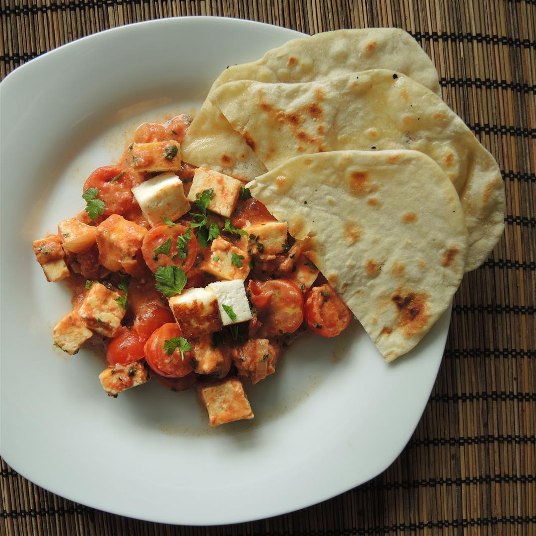 paneer in tomaten curry und chapati fladenbrot chilirosen. Black Bedroom Furniture Sets. Home Design Ideas