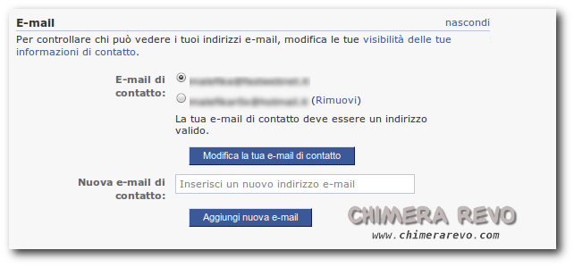 modificare email facebook