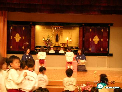 Japanese preschoolers performance or graduation ceremony.