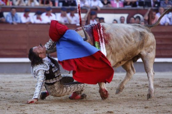 Spanish Bullfighter Julio Aparicio is gored by a bull during a bulfight of the San Isidro Feria at the Las Ventas bullring in Madrid, on may 21, 2010.     AFP PHOTO/ ALBERTO SIMON