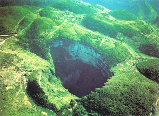 A large sinkhole in Sichuan province of China.