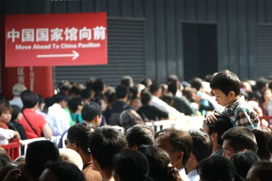 Large crowds and long lines at the 2010 Shanghai World Expo on October 16th.