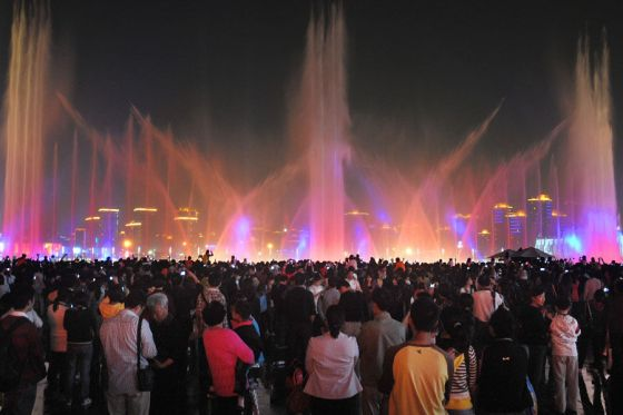 A colorful water fountain at the Shanghai 2010 World Expo.