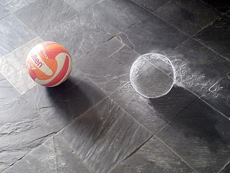 3D chalk art: a ball.