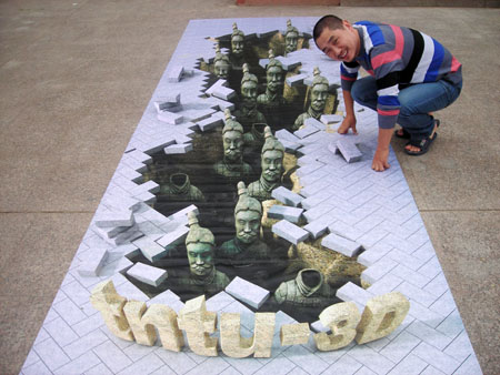 "3D chalk art: Terracotta warriors? With ""Chalk God""."