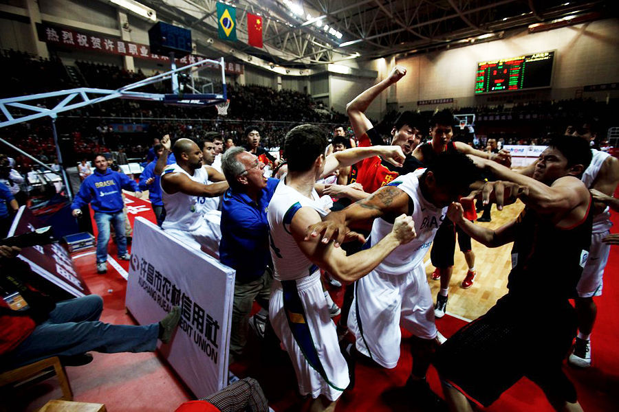 china brazil basketball game mass brawl between players