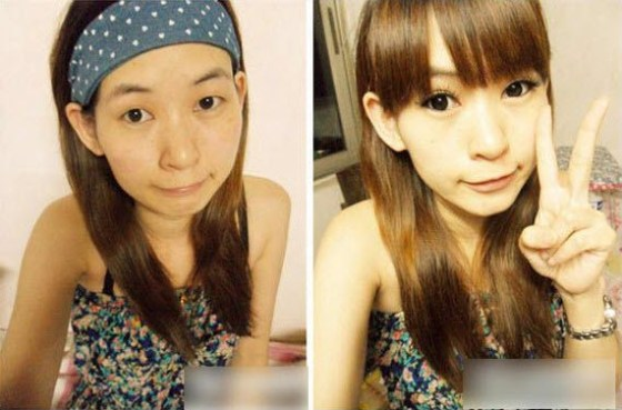 Chinese girls before and after make-up.