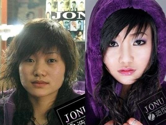 Asian girls before and after makeup.