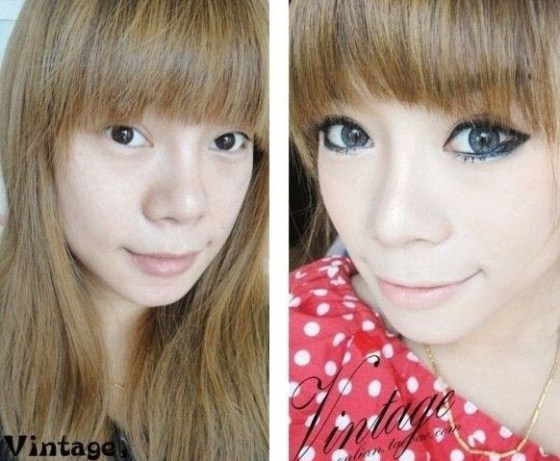 Before and after photos of girls with and without makeup.