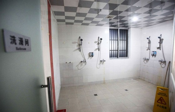 The shared bathroom at Shanghai's first capsule hotel.