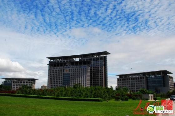 A Chinese government building in Wenzhou city of Zhejiang, China.