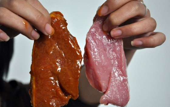 "In China, pork that has been treated with ""beef extract"" to become ""beef""."