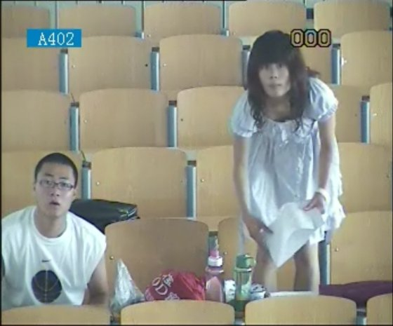 Hebei Polytechnic University student lovers suddenly realize there is a camera after having sex in an empty classroom..
