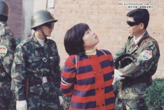 Drug trafficker Feng Cuiqiong, prior to being executed.
