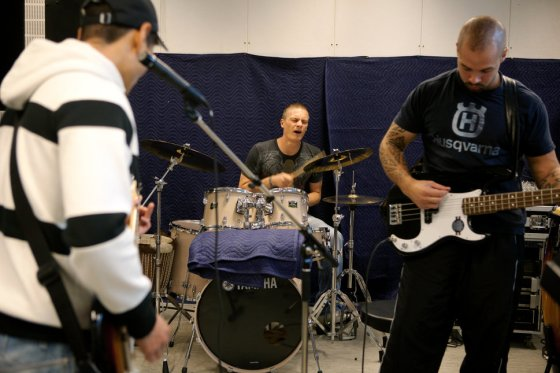 Inmates are practicing instruments in the professional recording studio where they regularly play as a band, built inside the luxurious Halden Fengsel, (prison) near Oslo.