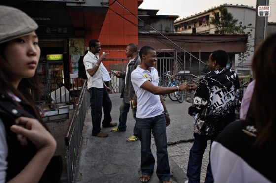 Africans on the streets of Guangzhou, China.