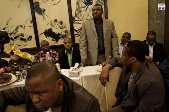 African businessmen in Guangzhou, China.