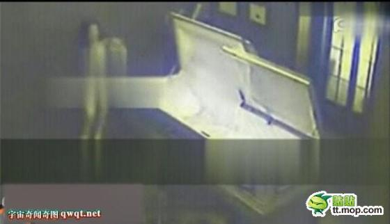 Naked couple caught having sex in a coffin.