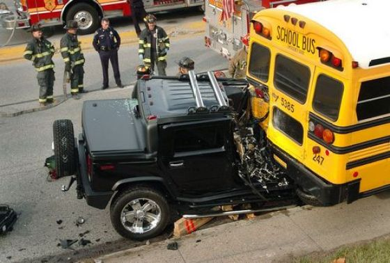 Hummer vs. school bus.