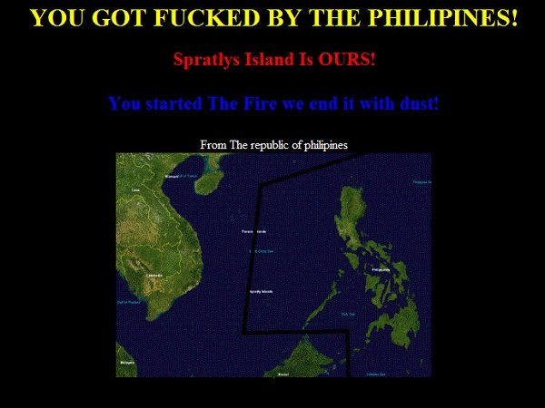 Filipino hackers retaliate against recent Chinese hackers by defacing various chinese websites making the counter claim that both the Scarborough Shoal and Spratly Islands belong to the Philippines.