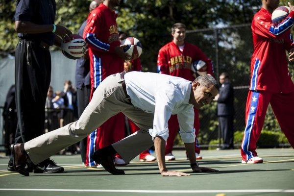 Obama is penalized by push-ups.