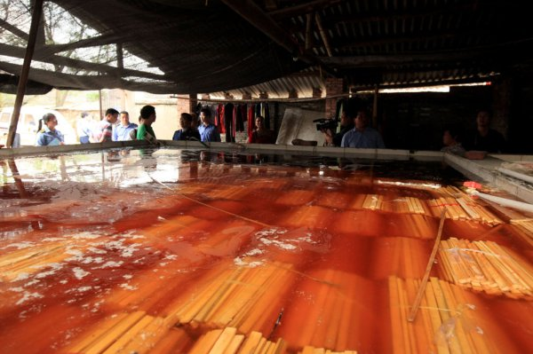A pool used to soak bamboo sticks used to make disposable chopsticks in chemicals in Guangxi, China.