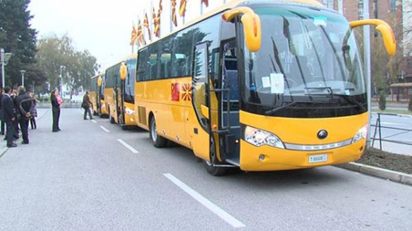 A row of Chinese-made school buses donated to Macedonia by China.