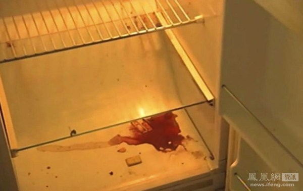 Luka Rocco Magnotta's refrigerator, with traces of blood.