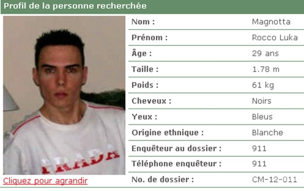An online profile of Luka Rocco Magnotta in French.