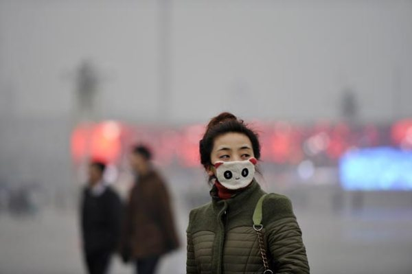 A Chinese woman wearing a face mask that looks like a panda in Beijing due to the polluted air.